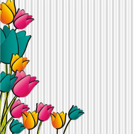 flowers with lines of crayons background lines Stock Vector - 13142218
