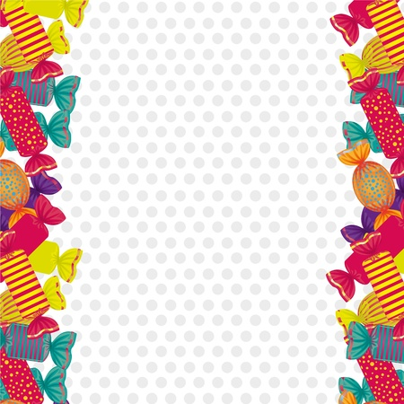 caramel candy: sides dotted background filled with colorful candies Illustration