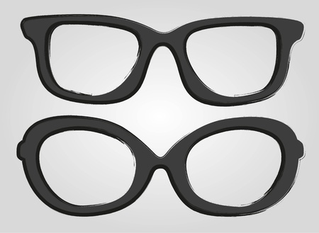 eye glass frame: two glasses cartoon style, isolated on gray background