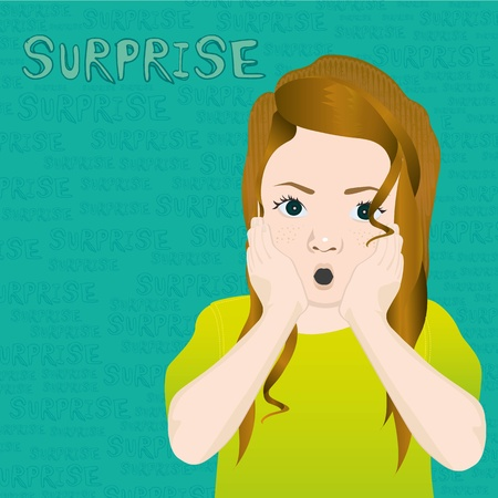 girl with an expression of surprise, on background of words Vector