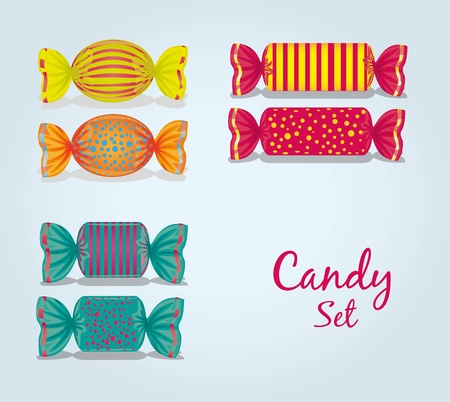 sugary: candy set rectangular, square, oval, lines and dots, vector illustration