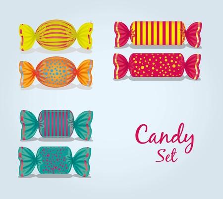 sweetmeats: dulces establece rectangulares, cuadradas, ovaladas, l�neas y puntos, ilustraci�n vectorial Vectores