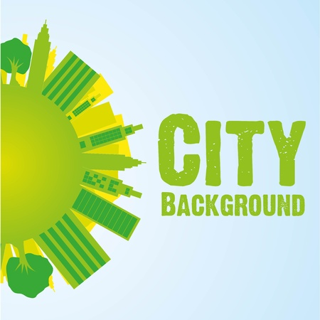 buildings on world background, green, vector illustration Vector