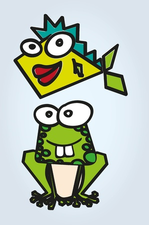 frog and fish abstract, colorful, isolated on gray background, vector illustration Vector