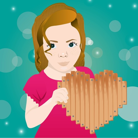 Girl with wooden board heart shaped, vector illustration Vector