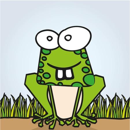 tadpole: Rana abstract grass background, vector illustration