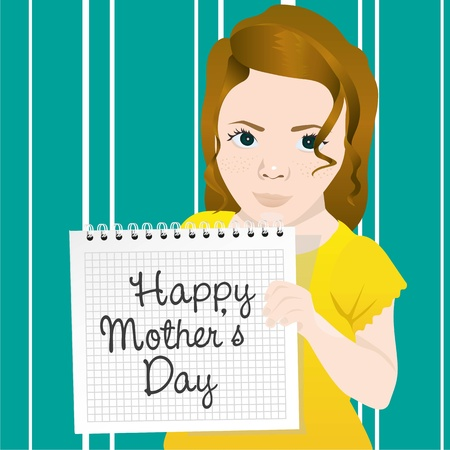 Girl holding notebook rings, with message for mothers day Vector