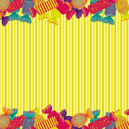 sweetmeats: fondo de caramelos en la parte superior e inferior con las l�neas de fondo Vectores