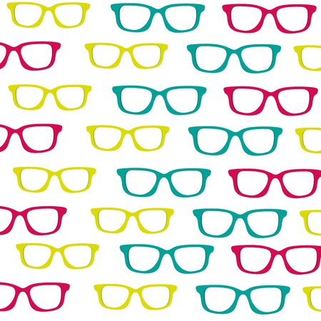 optometry: background of small colored glasses silhouettes isolated on white background