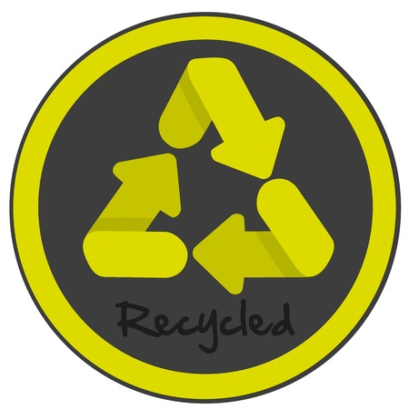 recycling symbol with curved edges on black and green circle Stock Vector - 13142126