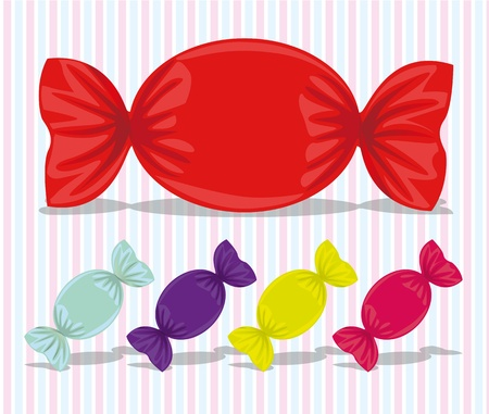 sweetmeats: oval candy assorted colors, vector illustration