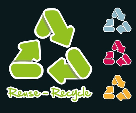 recycling icons set with white border, vector illustration Stock Vector - 13142148
