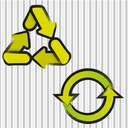 rash: recycling icons set with black line, vector illustration