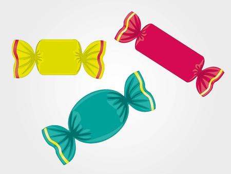 caramelos de colores sobre fondo gris claro, ilustración vectorial Ilustración de vector