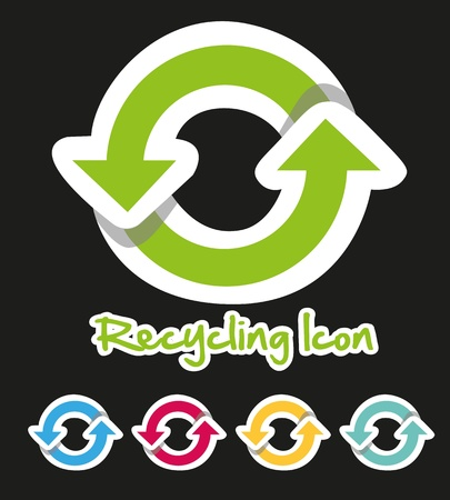 Recycling icon set of colors, isolated on black background Stock Vector - 13142140