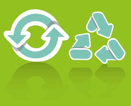 Recycling icon set on a green background, vector illustration Vector