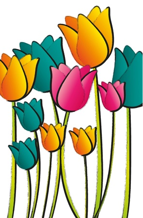 cartoon bouquet: cartoon flowers isolated on white background, vector illustration