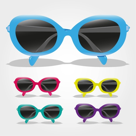 set of colored sunglasses, isolated on gray background, vector illustration Stock Vector - 13142174