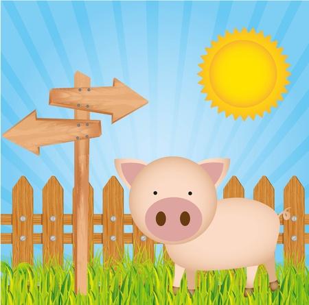 ilustración granja de cerdos, con cerca de madera
