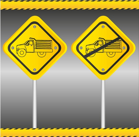 Truck signs, isolated on gray background Vector