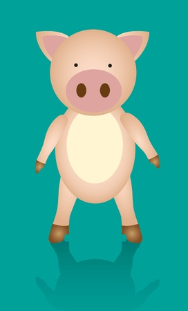 cartoon pig isolated on Turquoise   Vector