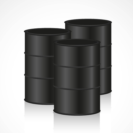 chemical spill: barrels isolated on black background