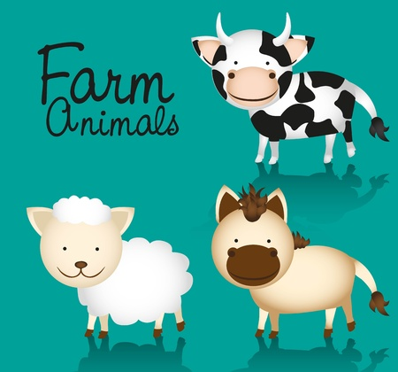 set farm animals, includes: cow, horse and sheep Stock Vector - 13308208