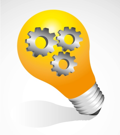 gray bulb: Bulb on with gears, isolated on gray background Illustration