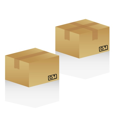 packer: cardboard boxes, isolated on white background Illustration