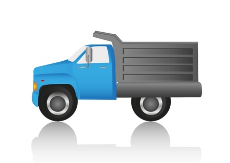 blue dump truck isolated on gray background Vector