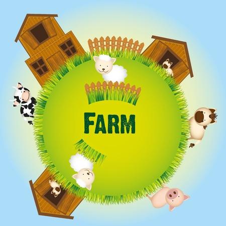 farm animals and barn Stock Vector - 13308553