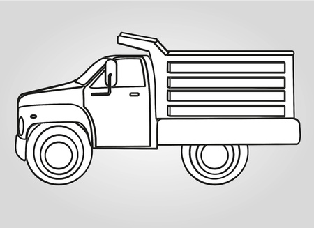 drawing dump truck isolated on gray background Vector