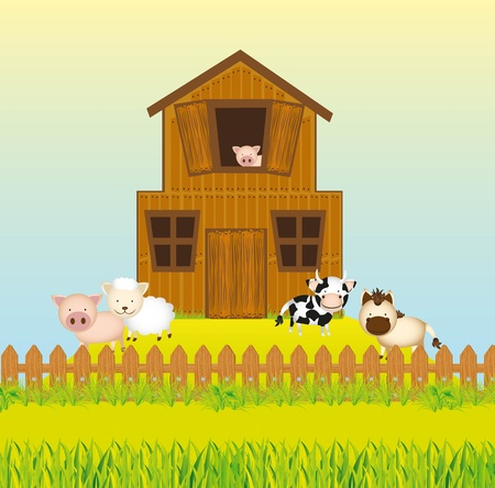 Barn, farm with animals Vector