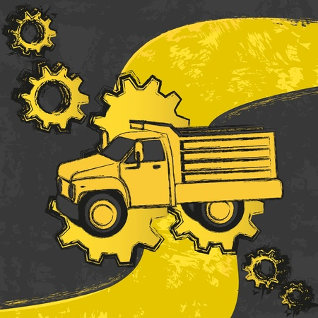 dump truck grunge background with gears  Vector