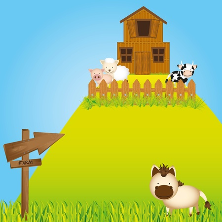 farm in mountain witth animals and barn Vector