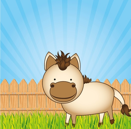cute cartoon horse with wooden fence Stock Vector - 13308502