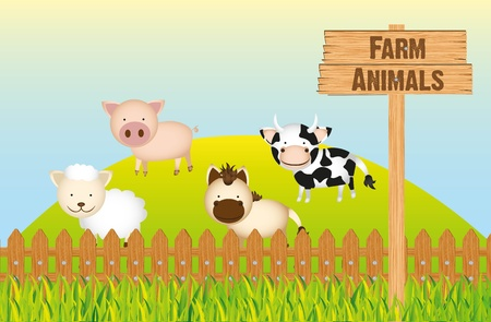 farm animals, cow, horse, sheep and pig Vector