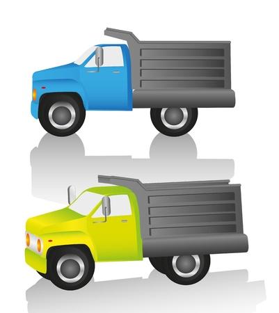 camion volteo: cami�n en dos puntos de vista diferentes, aislados sobre fondo blanco
