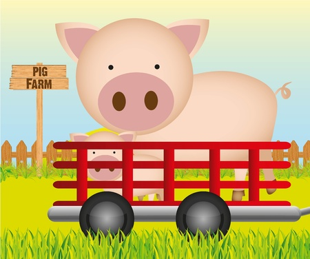 trailer with pig farm background Stock Vector - 13308554