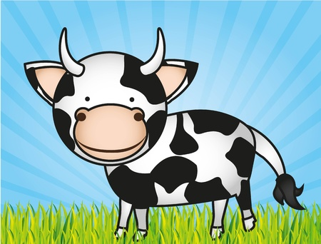 cute cartoon cow with grass and sky Illustration