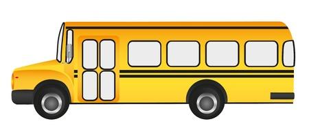 elementary: school bus, grass background
