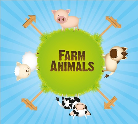 farm animals, cow, horse, sheep and pig  Stock Vector - 13308550