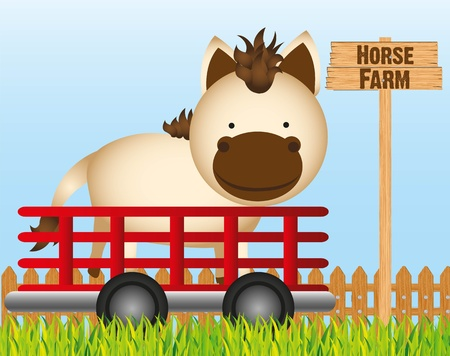 trailer with horse farm background Illustration