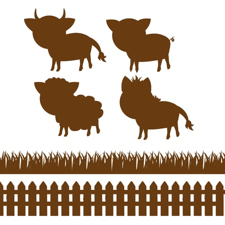 set of silhouettes of farm animals, wooden fence and grass