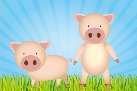 cute cartoon pigs with grass and sky Vector