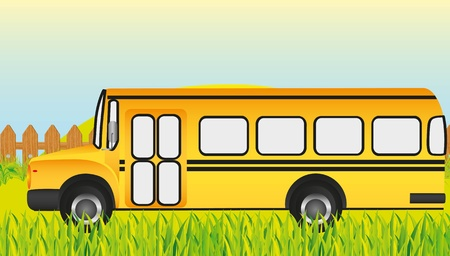 school bus, grass background Vector