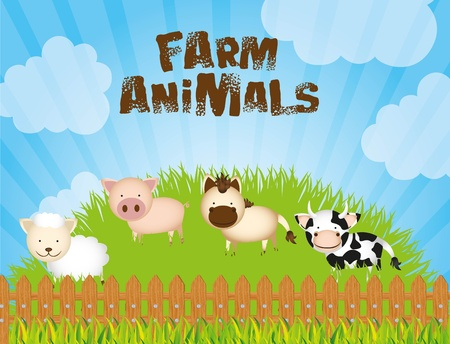 illustration farm with cows, sheep, pig and horse on grass Illustration