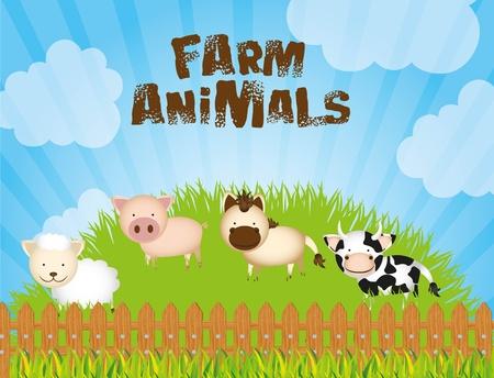 ilustración de la granja con vacas, ovejas, cerdos y caballos en la hierba