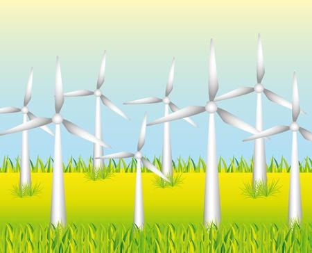 g�n�rer: moulins � vent blancs pour produire de l'�nergie sur fond d'herbe Illustration