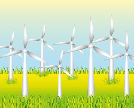 windpower: white windmills to generate energy on grass background Illustration